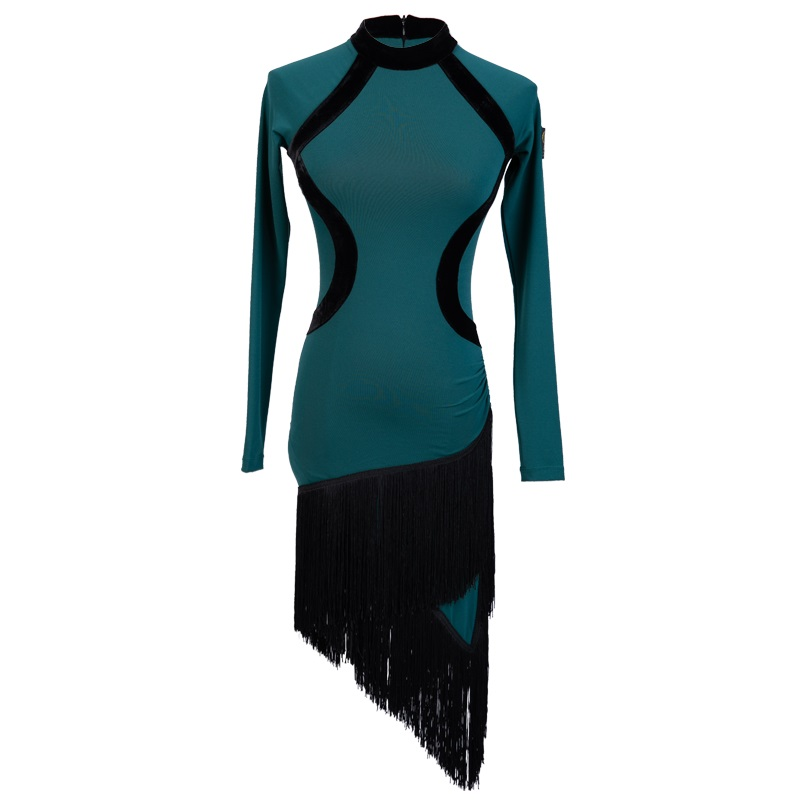 Latin Fringe Dress Long Sleeve Irregular Skirt Women Latin Dress Competition Dancing Practice Clothing Adults Show Wear DN2730