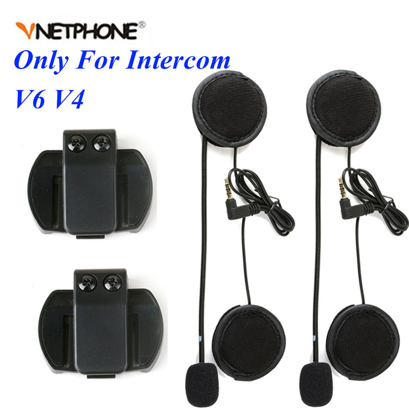 2PCS 3.5mm Microphone Speaker Headset Helmet Clip For Vnetphone V4 V6 For EJEAS V6 V6 Pro Motorcycle Bluetooth Interphone Moto