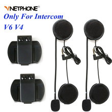 2PCS 3.5mm Microphone Speaker Headset Helmet Clip for Vnetphone V4 V6 For EJEAS V6 V6 Pro Motorcycle Bluetooth Interphone Moto(China)