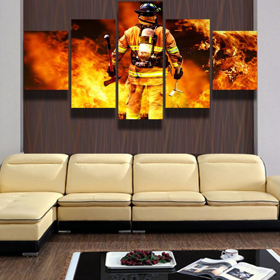 Modern Frames For Paintings Decorative Canvas 5 Panel Firemen Art ...