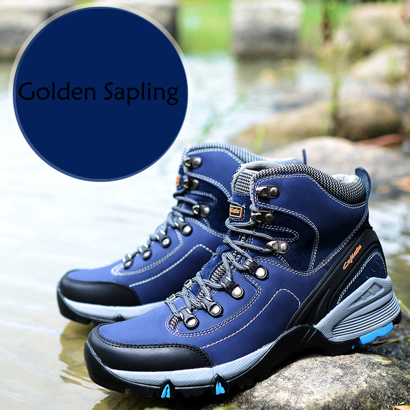 Golden Sapling Mens Hiking Boots Rubber Sneakers Men High Top Tactical Shoes Male Sport Mountain Trekking Boot Outdoor Shoes Man outdoor shoes men sneakers women military camping tactical boot high top climbing shoes trekking boots hiking shoes men sneakers