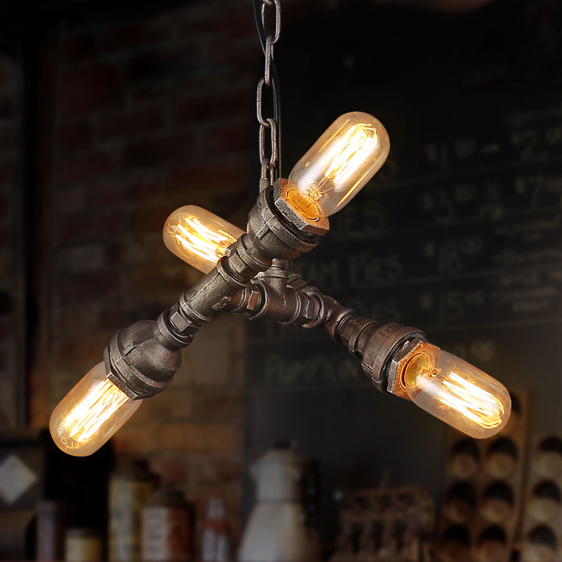 Retro Water Pipe Lamp Loft Style Vintage Industrial Pendant Lighting Fixtures Hanglamp Lamparas Colgantes Edison Light Fixture america country led pendant light fixtures in style loft industrial lamp for bar balcony handlampen lamparas colgantes