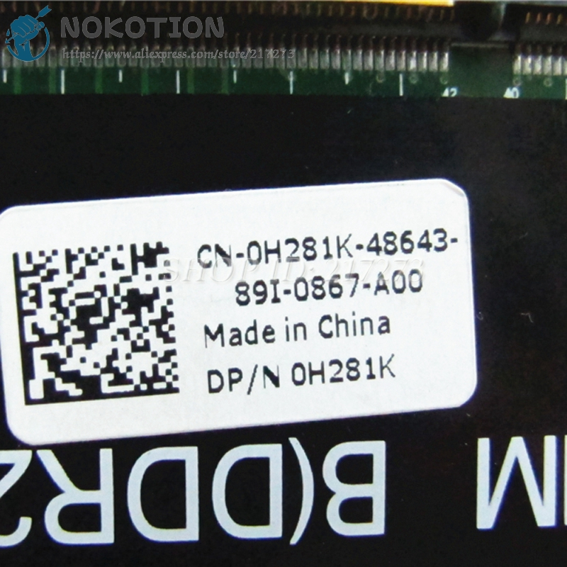 NOKOTION For Dell Studio 1535 1537 Laptop Motherboard 0H281K CN-0H281K 965PM DDR2 HD3470 graphics Free CPU