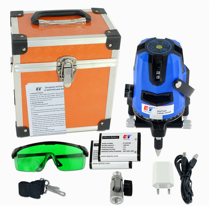 Kaitian Laser Level Green 5 Lines 6 Points Self Leveling with Battery Bracket 360 Rotary Slash Function Outdoor 532nm EU