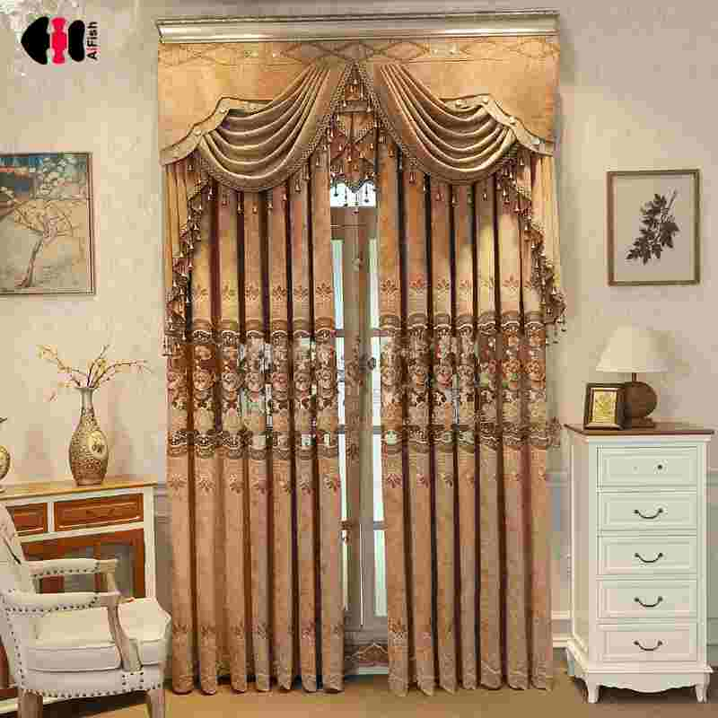 Graceful Luxury Embroidered Cashmere Lotus Villa New Home Marriage Room Living Room Window Treatment Panels Blinds WP248C