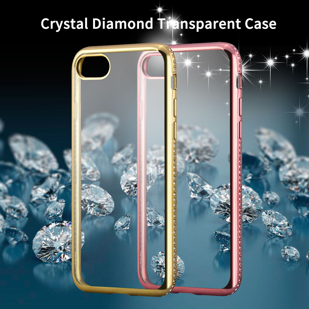 Luxury 3D Diamond Rug Bumpers + Transparent Clear TPU Case For iPhone 7 / 7 Plus 5.5 Soft Silicone Plating Cover For iPhone7