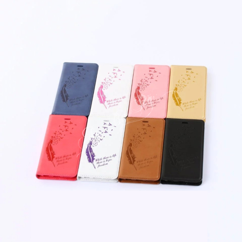 Feather Flip PU Leather wallet cover Cases For iPhone 7 6 6S 8 Plus X Purse Style Phone Bags with Card Slots