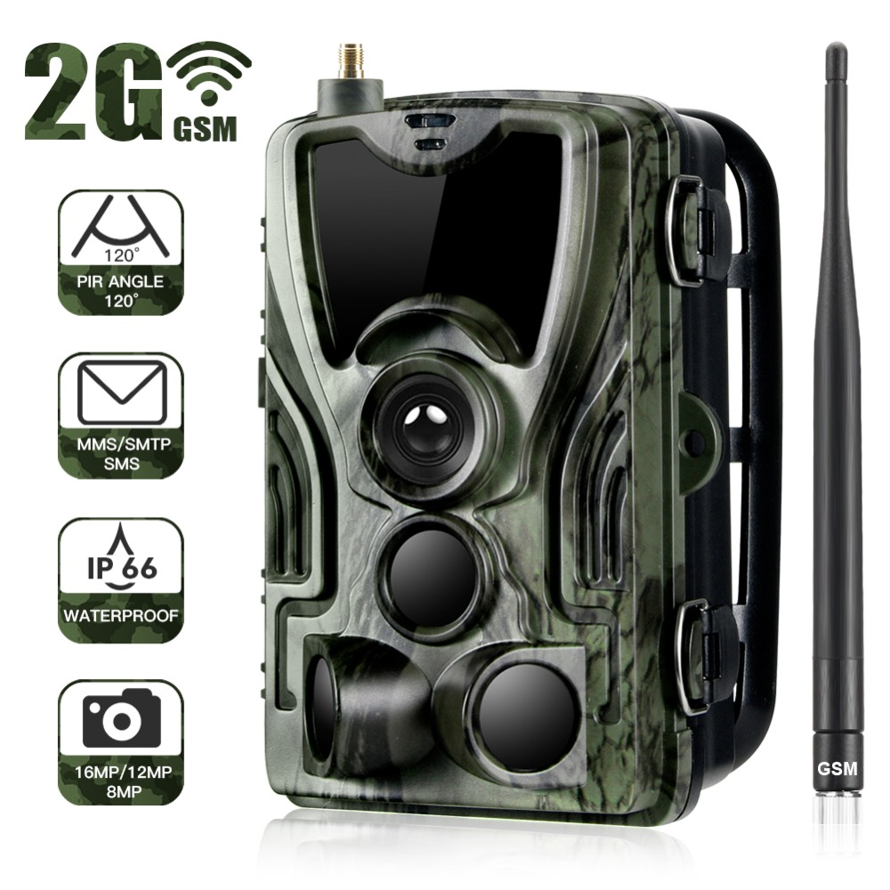 Goujxcy HC801M 2G MMS Trail Camera 16MP 1080P Infrared leds wildlife Camera Photo traps Surveillance Night Vision hunting camera-in Hunting Cameras from Sports & Entertainment
