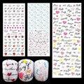 Nuevos Exportación JAPÓN Calidad lindo 232-233-234 belleza mejor MÁS NUEVO 3 unidades de las letras de amor nail sello de agua etiquetas engomadas del arte decal popular