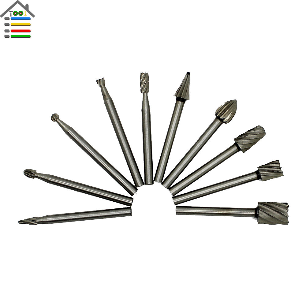 10pcs Hss Router Bits For Dremel Bits Rotary Milling Cutter 1/8 Inch Shank Engraving Set Woodworking Tool Tools