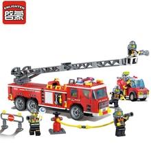 ENLIGHTEN City Police Rise Fire Truck Firemen Building Blocks Sets Bricks DIY Model Kids Toys Gift For Boys Compatible Legoes