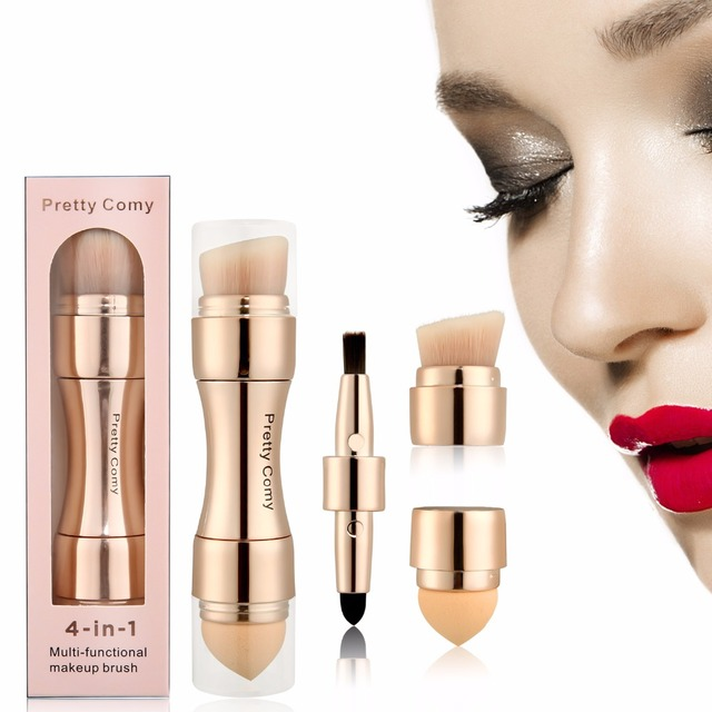 Caliente 4 en 1 pinceles corrector maquillaje-pinceles rubor-base de polvo cejas-delineador de ojos cosmético maquillaje profesional corrector herramienta