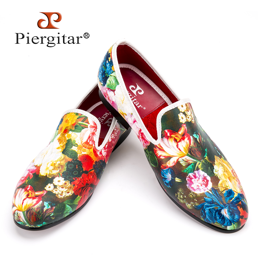 Piergitar new style flower and leaf pattern printing white men loafers wedding and party men dress shoes Fashion men's flats stylish flower and leaf ink pattern 6cm width tie for men