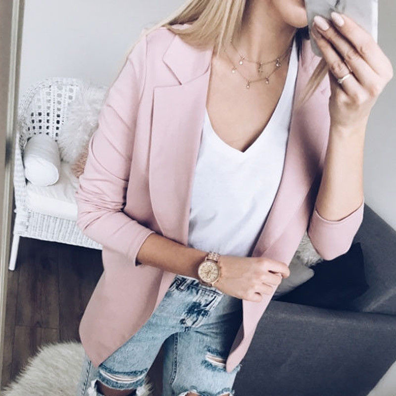 Fashion Women Autumn Blazer Long Sleeve Without Button Ladies Elegant Jacket Office OL Slim Short Women's Suits Outwear Tops
