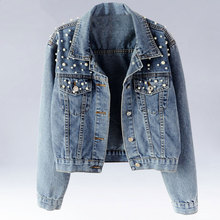 Pearls Beading Short Denim Jackets Plus Size 5Xl Women Washed Long Sleeve Jeans Outwear Vintage Casual Jacket Coats WWJ960
