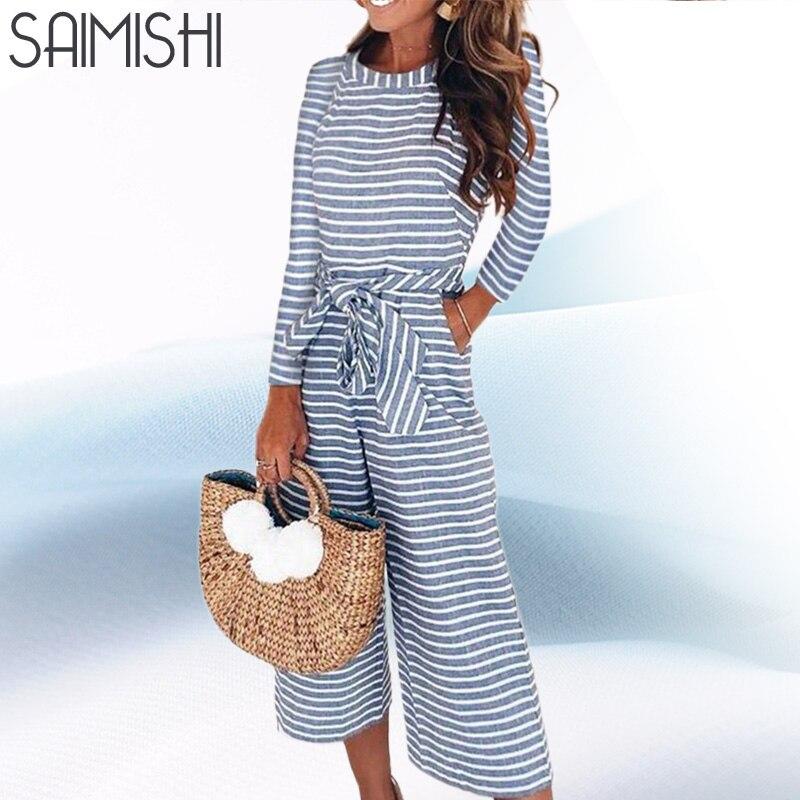 Saimishi Cropped   Jumpsuits   Overalls Zipper Back Raglan Sleeve Women Striped   Jumpsuits   Fashion Long Sleeve Wide Leg   Jumpsuits