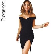Cryptographic Fashion off shoulder 2018 summer dress split new sexy dress women casual irregular sundress party dresses vestidos