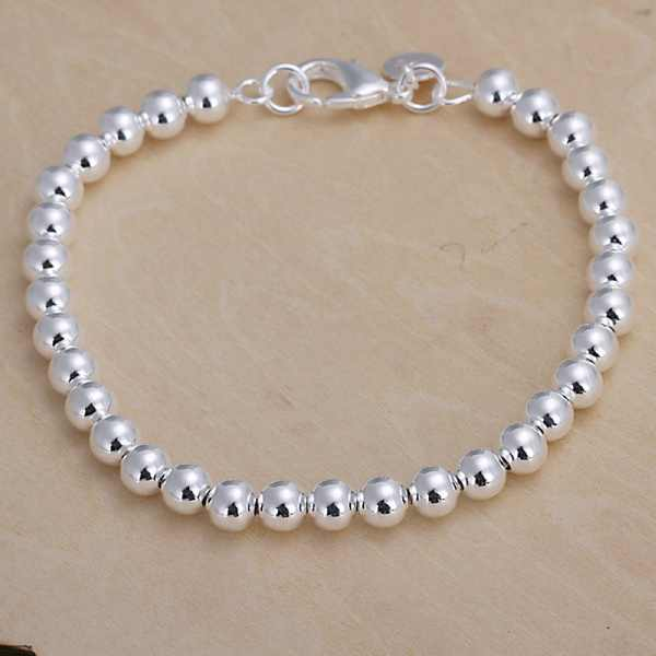 Silver color 6MM CHAIN , bead bracelet fashion charm Women lady jewelry cute nice pretty wedding birthday gift H114