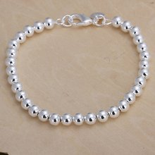 Silver color 6MM CHAIN , bead bracelet fashion charm Women lady jewelry cute nice pretty wedding birthday gift H114(China)