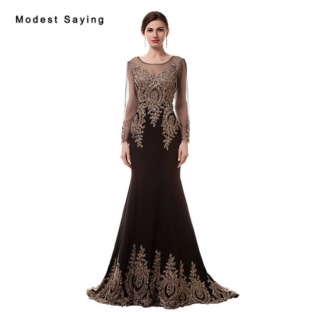 a9cc546a22fdd7 Elegant Black Mermaid Kralen Kant Lange Mouwen Avondjurken 2017 Formele  Engagement Party Prom Gown vestido longo
