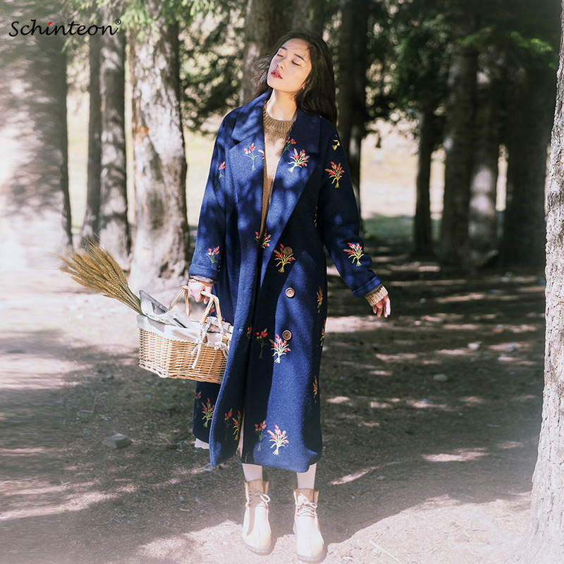 Women Wool Long Coat Flower Embroidery X Long Jacket Loose Trench Coat Vintage Garment Double Breasted