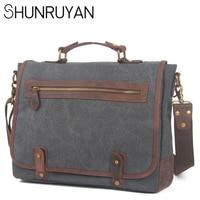 SHUNRUYAN Men's Retro Casual Single Shoulder Bag British Style Handbag Leisure Briefcase Casual Canvas Satchel Messenger Bag
