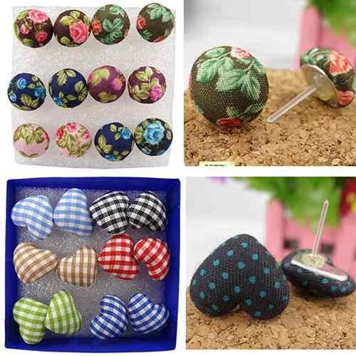 Bluelans 6 Pairs Vintage Colorful Tombol Kain Plastik Pin Ear Studs Earrings Jewelry