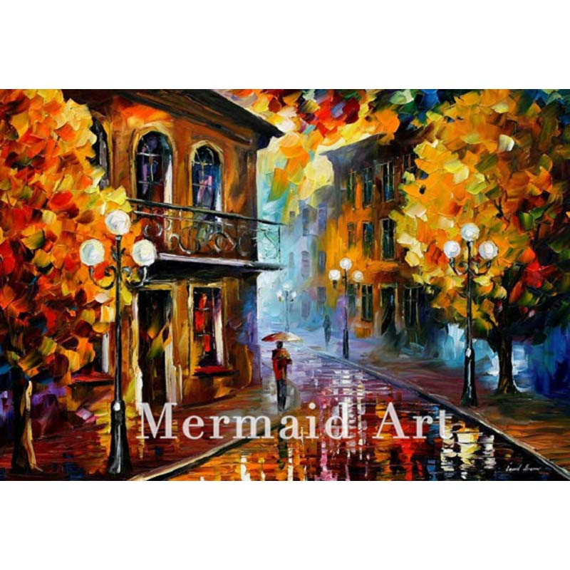 Hand Painted Landscape Abstract Rainy Street Fall Palette font b Knife b font Modern Oil Painting