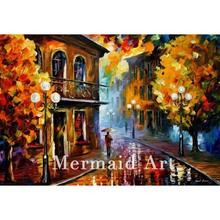 Hand Painted Landscape Abstract Rainy Street Fall Palette Knife Modern Oil Painting Canvas Wall Living Room Artwork Fine Art