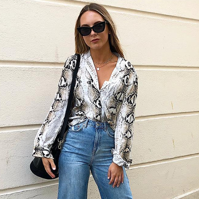 d00e43157a New style Fashion autumn women s commuter chiffon shirt casual Snake print  long-sleeved Notched Button shirt loose top