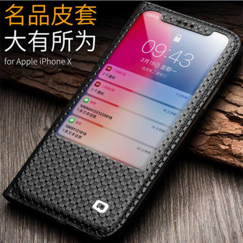 Pour Apple iPhone X étui fenêtre vue Flip téléphone couverture pour Fundas iPhone x 5.8 pouces luxe en cuir véritable peau sac coque capa