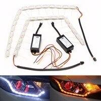 2PCS Flexible 48 LED Tear Eye Strip White Yellow Light Car Turn Lamp DC 12V New
