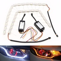 2PCS Flexible 48 LED Tear Eye Strip White Yellow Light Car Turn Lamp DC 12V New