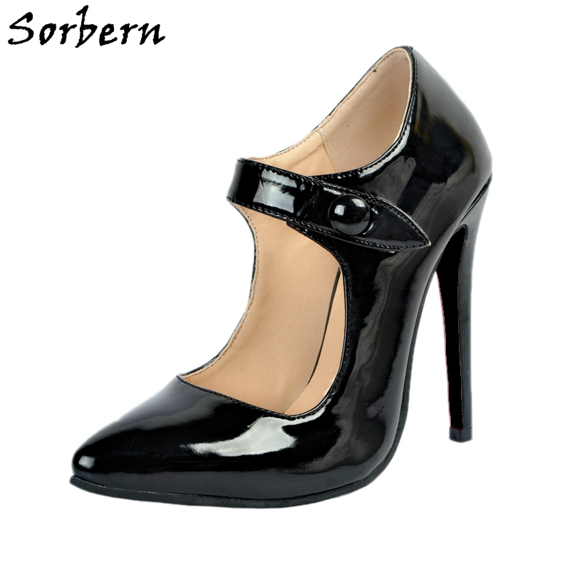 Sorbern Black Mary Jane Pump High Heels Pointed Toe Womens Basic Pumps Med Square Heel Red Bottoms For Women Heels 34-47 все цены