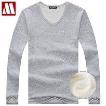 Осенне-зимняя футболка с флисовой подкладкой, модные мужские бархатные майки, теплые мужские повседневные хлопковые подштанники с v-образным вырезом, S-5XL
