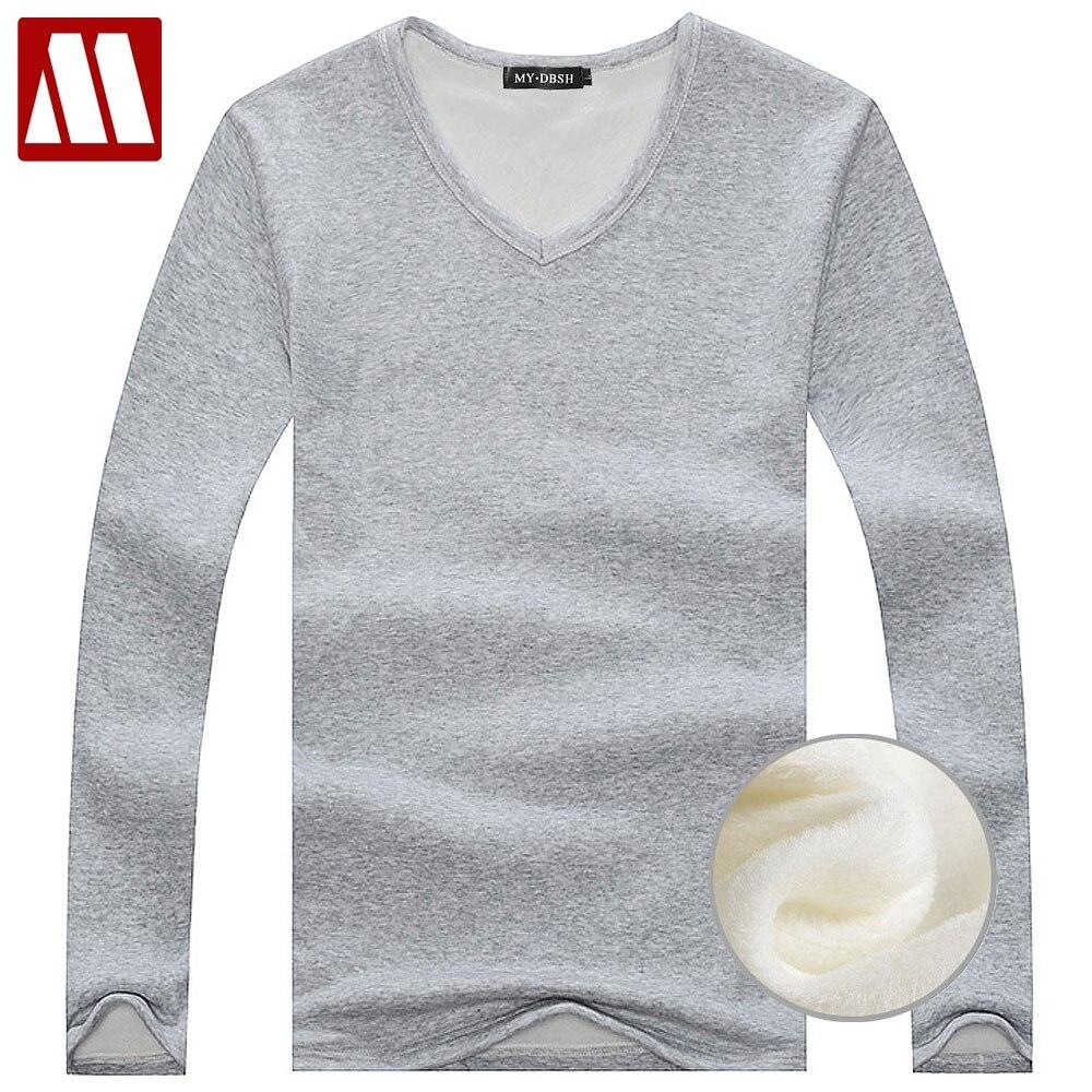 4721c0ffab56c Passer la souris dessus pour zoomer. 2019 automne hiver polaire doublé T  shirt mode hommes velours sous-chemises ...