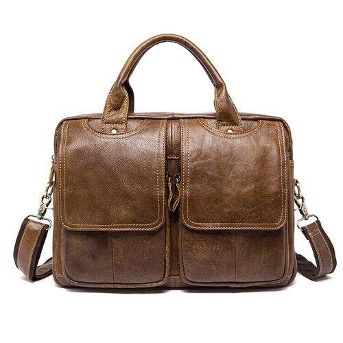 Sac Messenger sac à bandoulière pour hommes sacs en cuir véritable homme serviette pour hommes ordinateur portable 14 ''fourre-tout sacs à bandoulière pour hommes 8002
