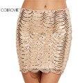 COLROVIE Nueva Llegada Del Fashional de Las Mujeres Mini Faldas Faldas de Moda de Corea Sexy Oro Vieira Lentejuela Bodycon Falda