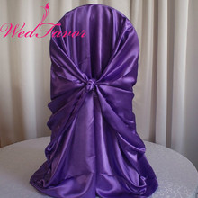 WedFavor 100pcs Purple Universal Satin Self Tie Banquet Chair Covers  Wedding Wrap Chair Cover For Hotel