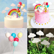 1set Birthday Cake Toppers Rainbow Cloud Balloon Flags Cupcake Topper Kids Unicorn Party Decoration