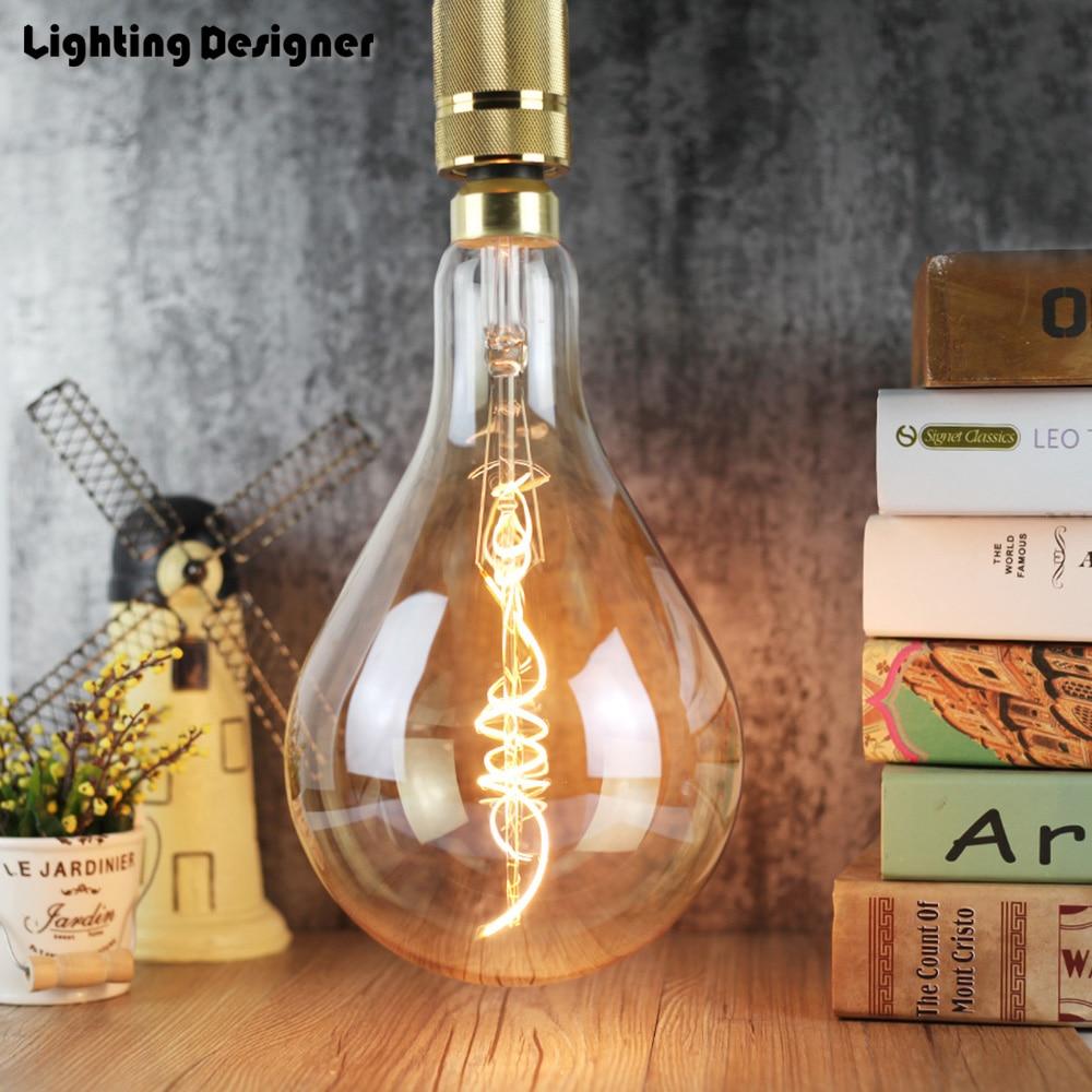 цена на A160 PS52 big size 220V 4W Edison bulb LED lamp light amber retro saving lamp vintage filament Edison ampul light chandelier E27