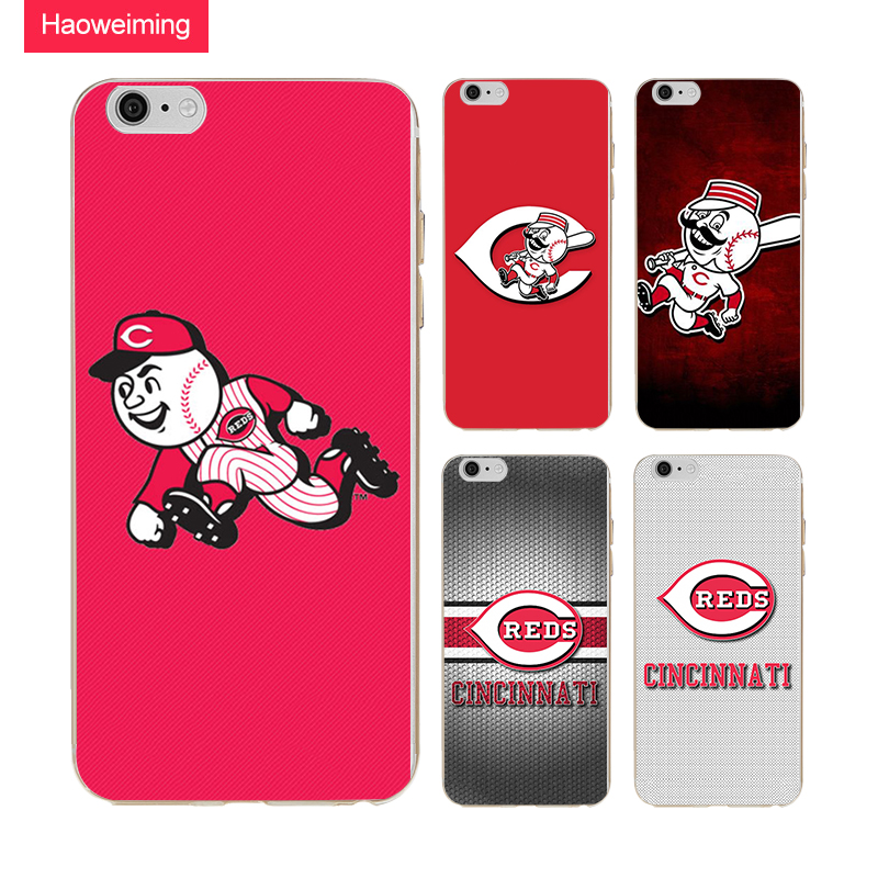 Haoweiming Cincinnati Reds Soft TPU Silicone Case Cover For Apple iphone 4 4s 5 5s SE 6 6s 7 8 Plus X H553