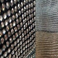 4ミリメートルグリッタークリアrhienstone 45 × 120センチ金属メッシュ生地メタリック布金属スパンコールスパンコールファブリックカーテンホーム装飾