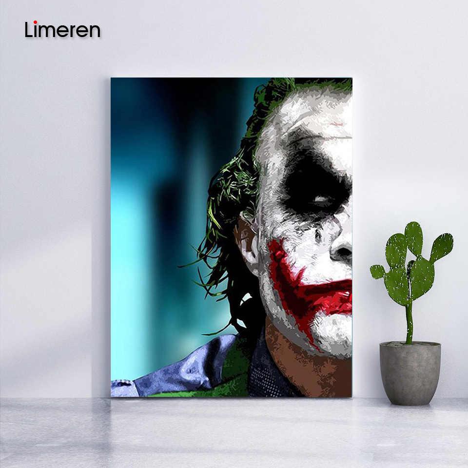 Joker Modular Gambar Mewarnai Dengan Angka Di Dinding Unframed DIY Minyak Menggambar Lukisan Dengan Angka Untuk Hadiah Yang Unik