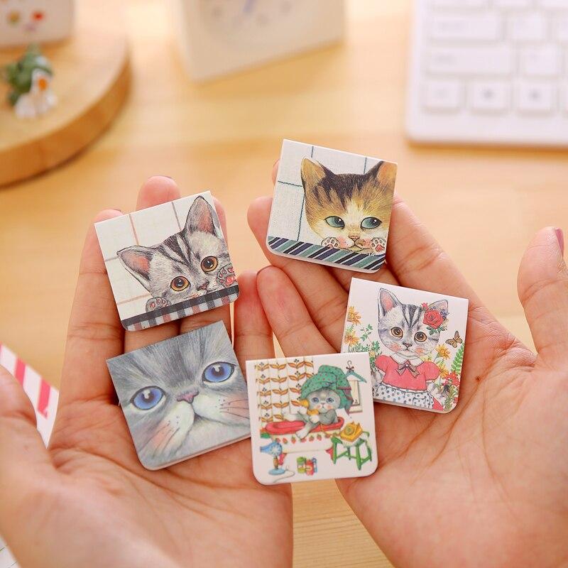 Doelbewust 3 Stks/pak Creatieve Studenten Briefpapier Mooie Cartoon Kat Bladwijzers Mini Dubbelzijdig Magnetische Bladwijzers Producten Hot Sale