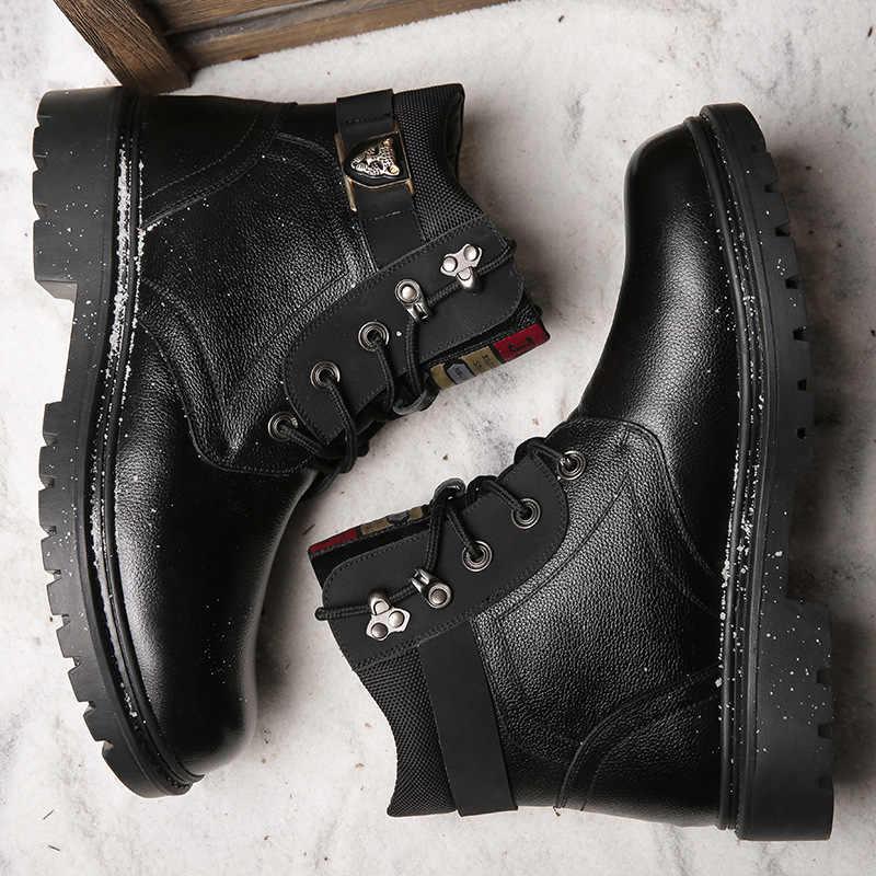 Pamuklu ayakkabılar erkek rahat Haisum çizmeler artı kadife sıcak çizmeler deri yün kar botları H-8037-1
