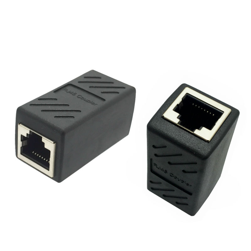 Black Female To Female Network LAN Connector Adapter Coupler Extender RJ45 Ethernet Cable Join Extension Converter Coupler
