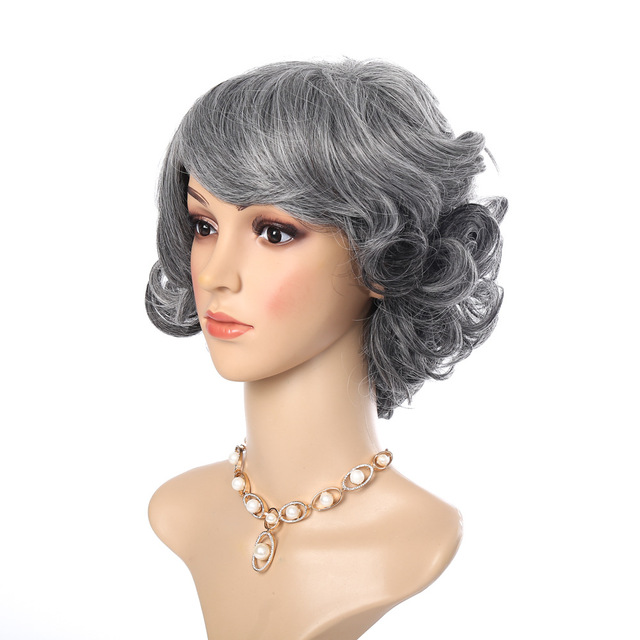 European And American Wig Short Hair Curly Fluffy Silver Gray Grant In The Elderly 38