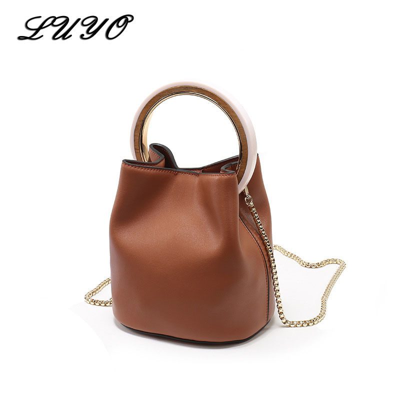 Genuine Leather Small Bag Cowhide Chain Ring Bucket Luxury Handbags Women Bags Designer Famous Brands Shoulder Bags For Female chispaulo women genuine leather handbags cowhide patent famous brands designer handbags high quality tote bag bolsa tassel c165