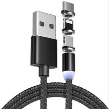 Data cable 3 in 1 Date line and 360 degrees blind absorption magnetic charging for android apple type-c